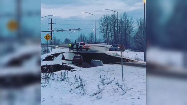 Earthquake collapses stretch of road in Alaska