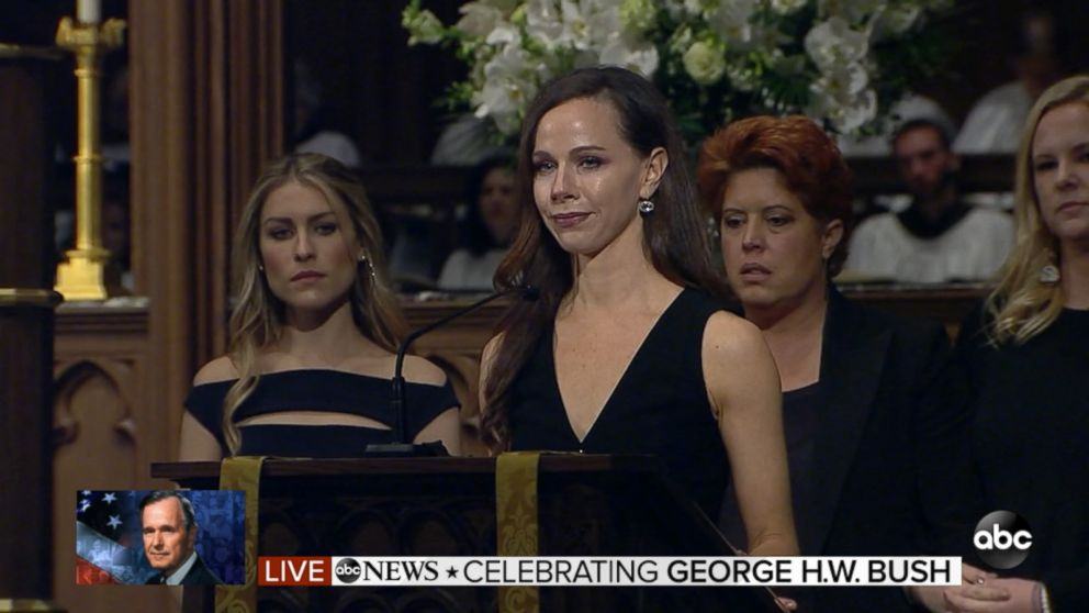 Bush granddaughters deliver readings at Texas funeral