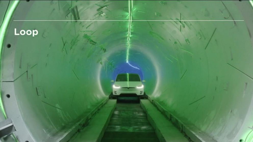 Elon Musk unveils test run of LA tunnel project
