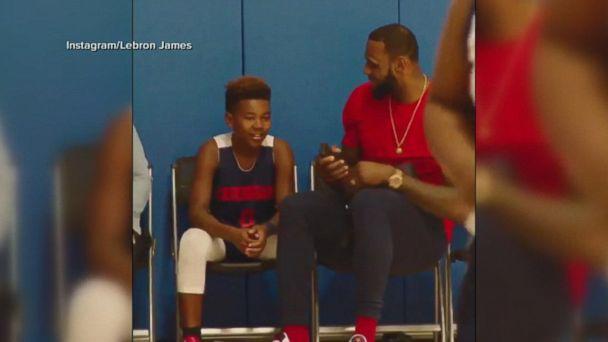 LeBron James gives his son a basketball pep talk