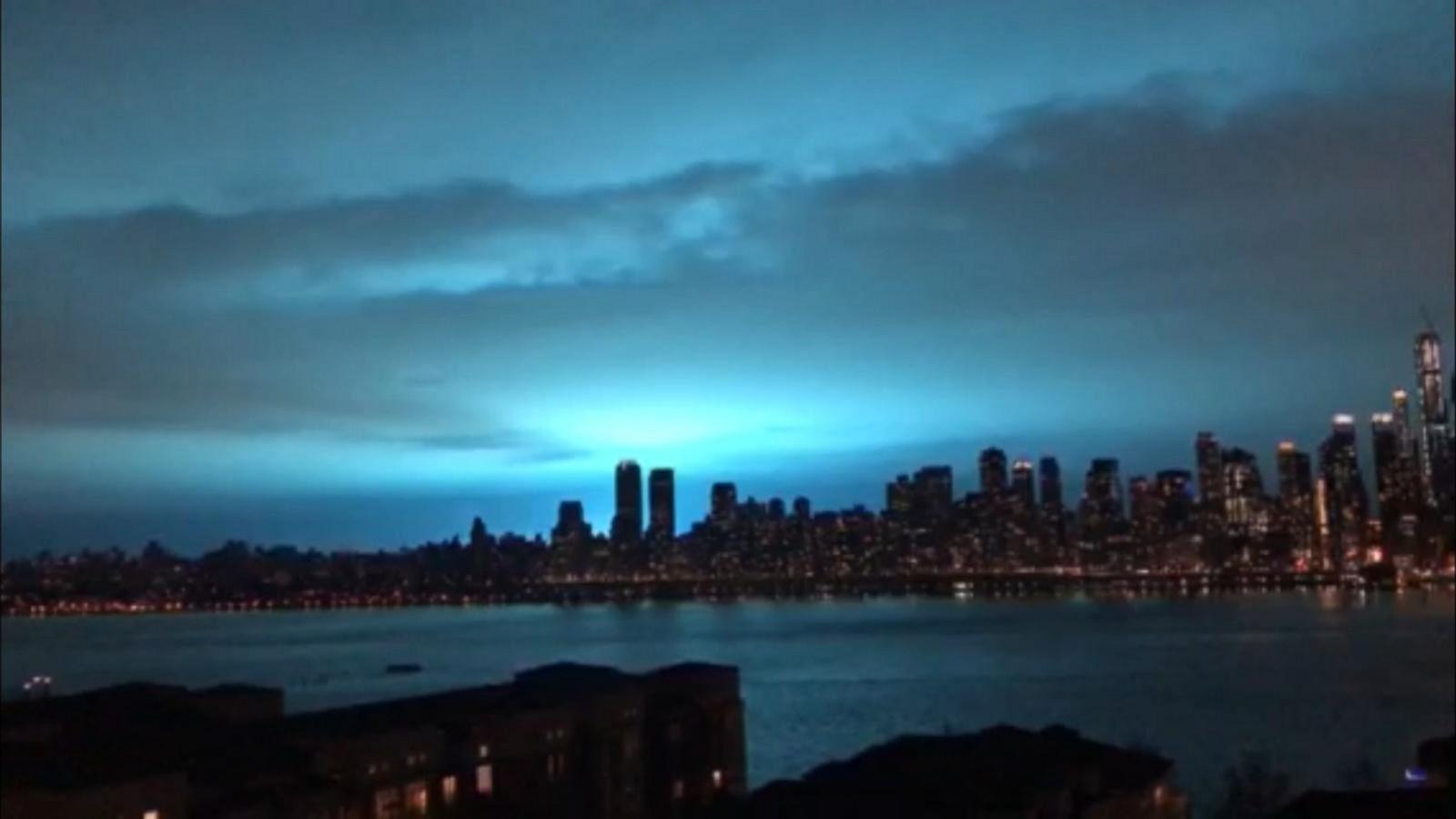 new york city skyline turns bright blue after transformer explosion