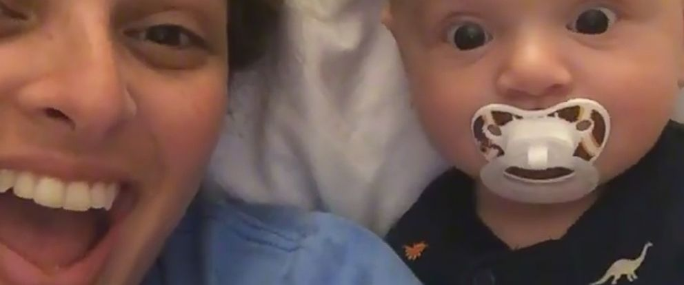 VIDEO: Baby is excited to see his mom in 2 places at once