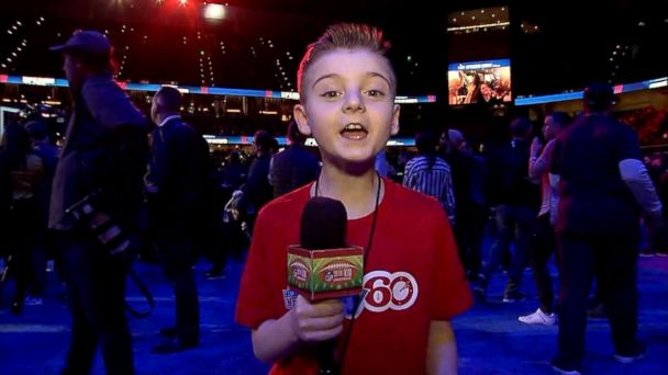 2da943e631a  GMA  kid correspondent Camdyn Clancy interviews some of Super Bowl 53 s  biggest stars