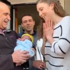 VIDEO: Fellow firefighters play stork to deliver adopted baby