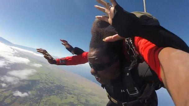 Two adventurous grandmas go skydiving to complete their