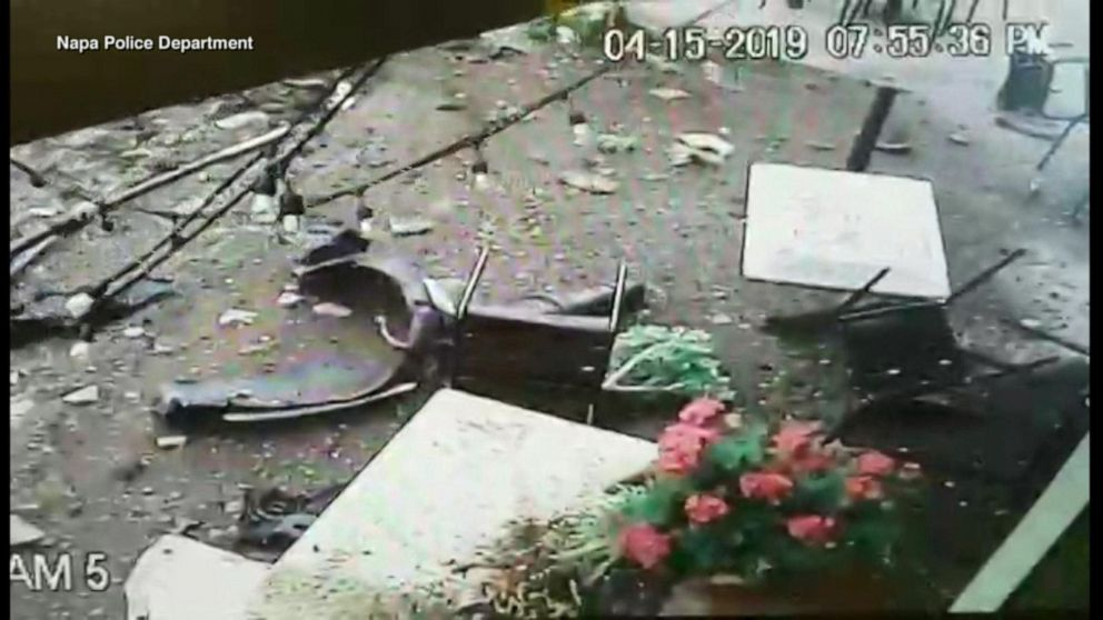 Family escapes dramatic car crash outside restaurant