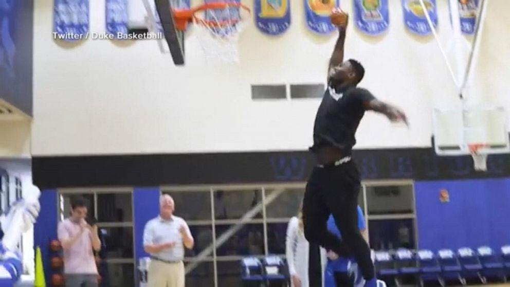 Star Duke basketball player pulls off sex reveal slam dunk