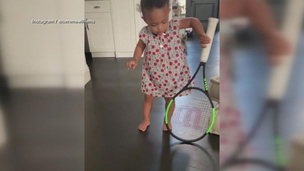 Serena Williams posts video of daughter Olympia trying out tennis racquets