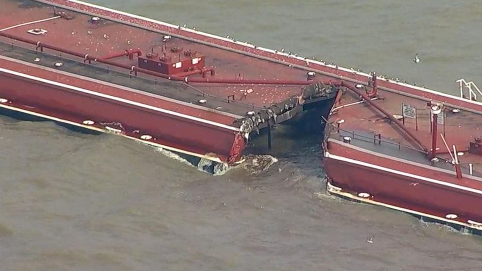 Tanker collision sends thousands of gallons of gas product leaking
