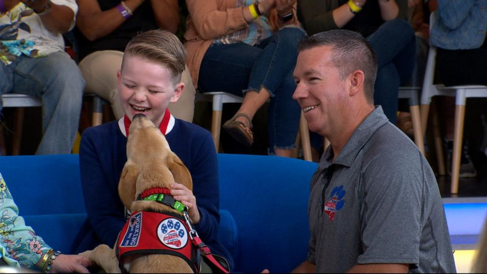Boy with Type 1 diabetes surprised with specially trained dog on 'GMA'