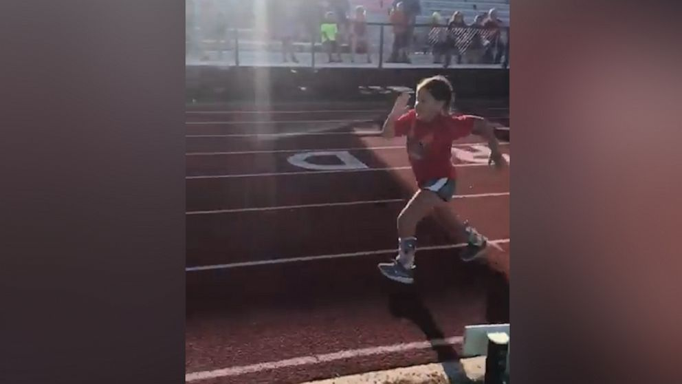 Girl with spina bifida chases her dreams by running in her 1st track race