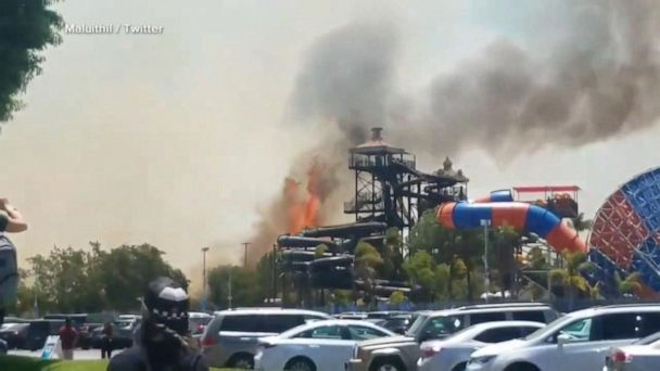 Wildfires force evacuations at Six Flags park