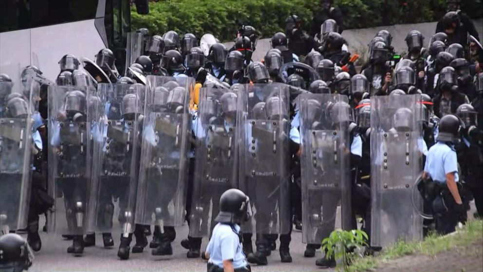 Hong Kong protesters tear-gassed by police as tensions