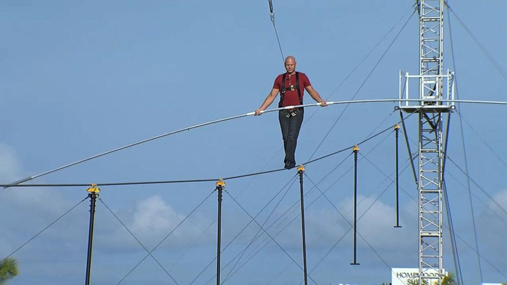 Nik Wallenda appears live on 'GMA' from 50 feet in the air