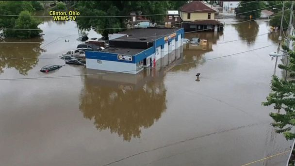 Flash floods and severe weather stretch from Plains to Northeast