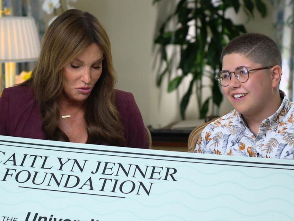 VIDEO: Caitlyn Jenner surprises transgender student with scholarship