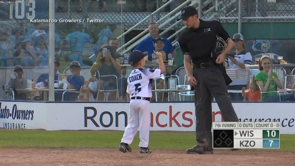 Adorable kid baseball coach gets ejected