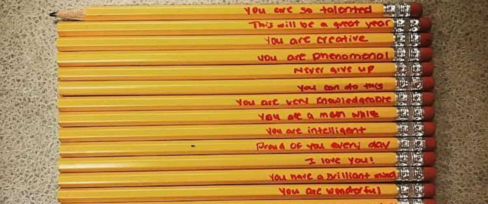 PHOTO: Teacher Amanda Cox shared this photo of pencils one of her students got from his mom.