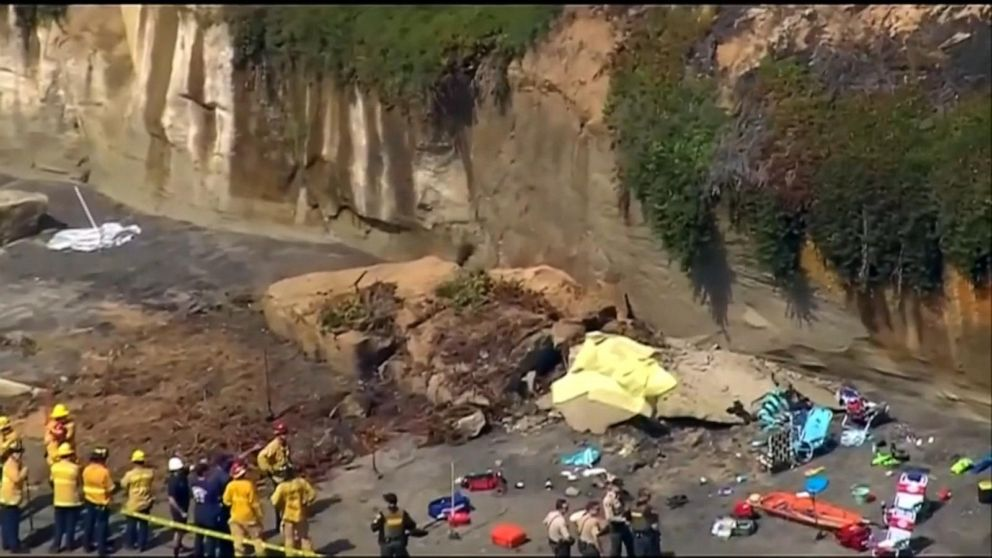 3 killed after bluff collapses onto beachgoers near San