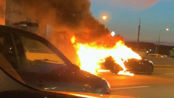 Tesla in autopilot mode bursts into flames, crashes into parked truck