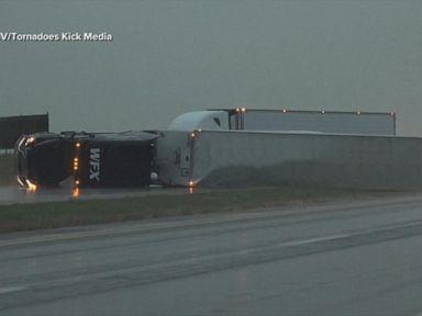 WATCH: High winds overturn 20 semitrailers in Kansas