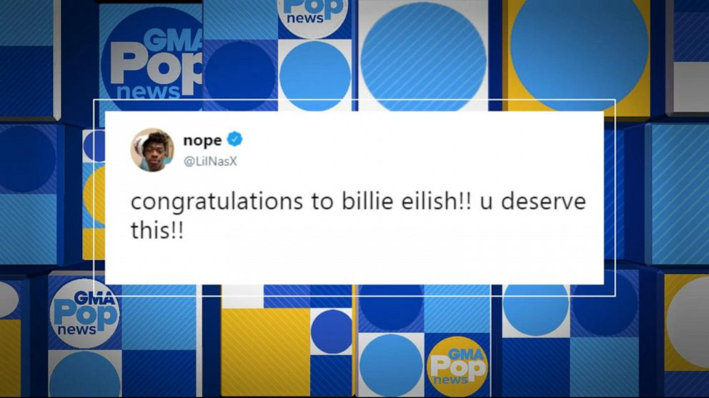Lil Nas X and Billy Ray Cyrus tweet congrats to Billie Eilish