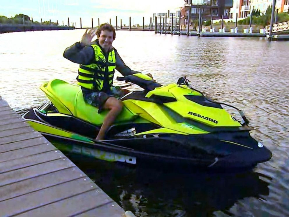PHOTO: David Pike shows GMA his morning ride on a jet ski from Jersey City to Brooklyn.