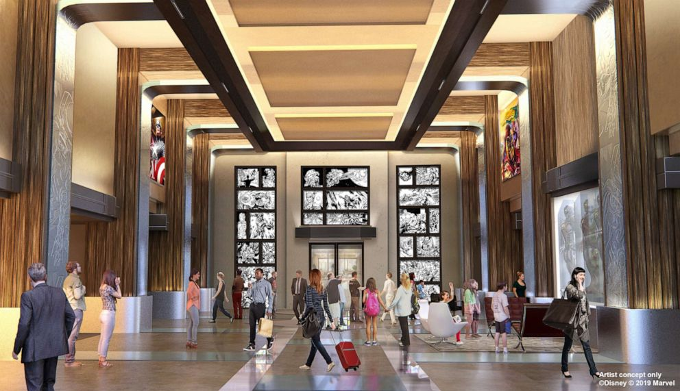 PHOTO: An artist rendering of the lobby at the new Marvel hotel coming to Disneyland Paris.