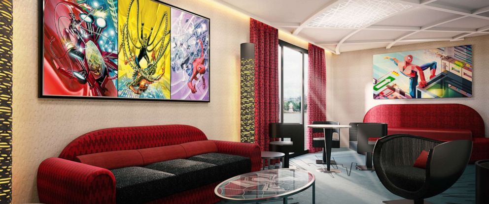 PHOTO: A artist rendering of the Spider Man suite at the new Marvel hotel coming to Disneyland Paris.