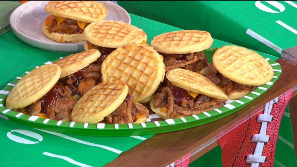 PHOTO: The infield sandwich made with BBQ pulled pork on a waffle.