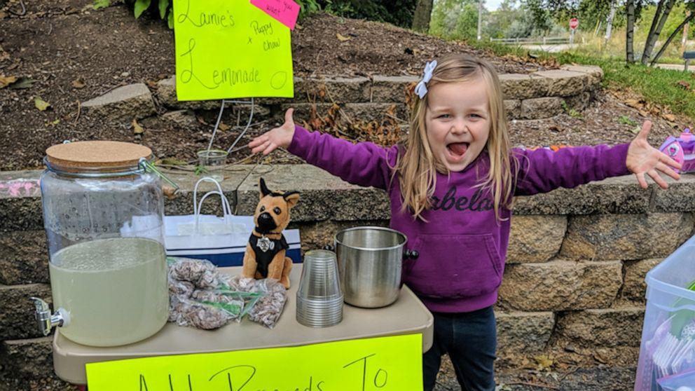 3-year-old's lemonade stand raises hundreds for police K-9