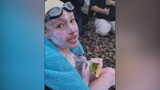 Woman is first to swim English Channel 4 times in a row