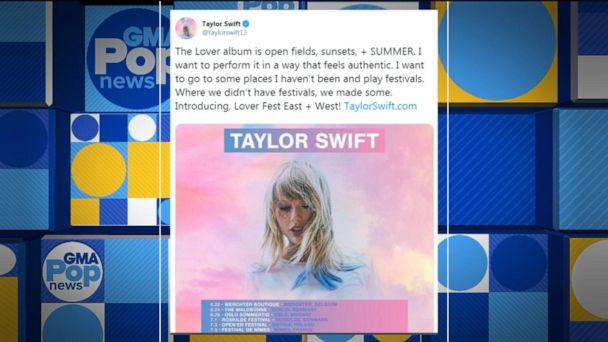 Taylor Swift to embark on 2 'Lover Fest' music festivals