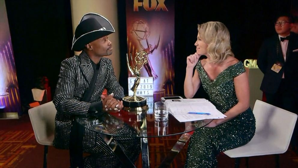 Billy Porter talks to Amy Robach after winning an Emmy for 'Pose'