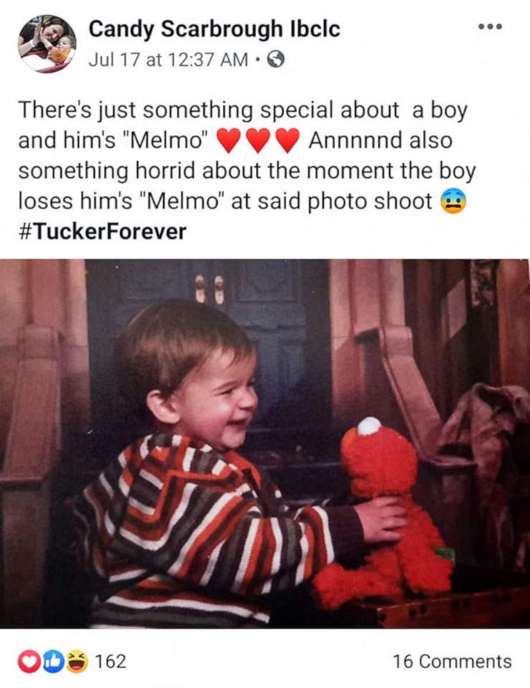 PHOTO: Candy Scarbrough was reunited with her sons long-lost Elmo.