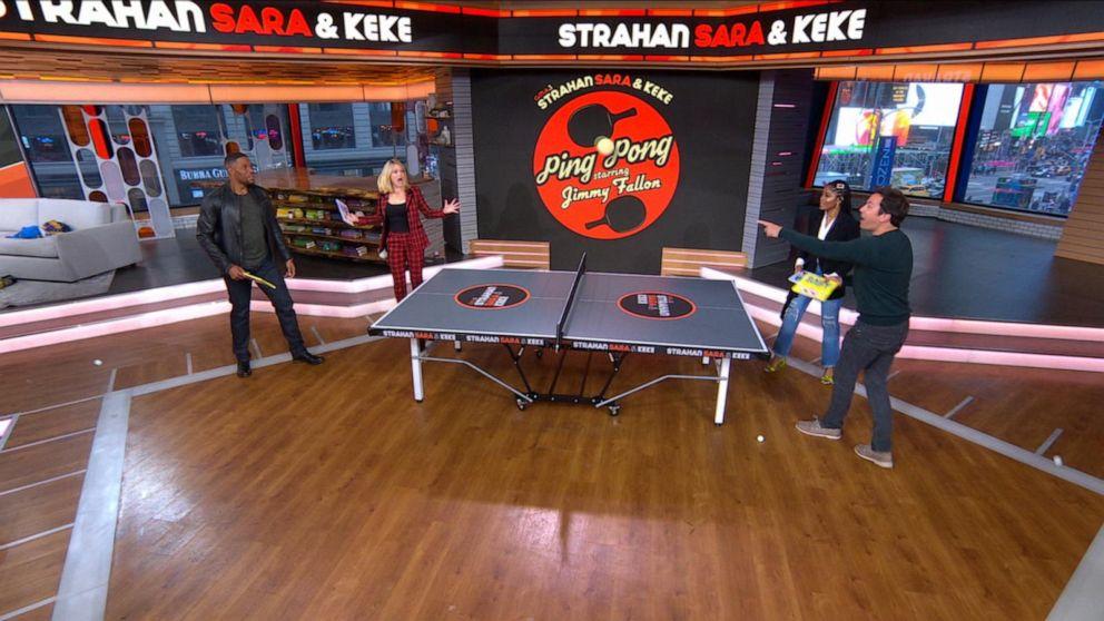 Jimmy Fallon plays ping pong with Michael, Sara and Keke