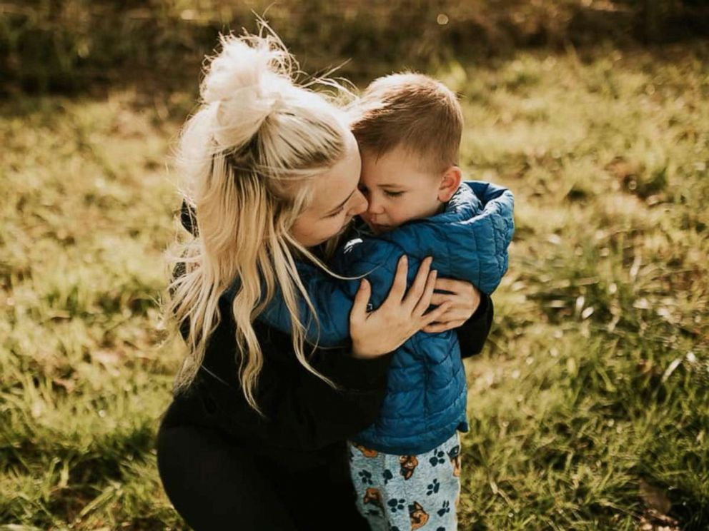 PHOTO: Caitlin Fladager and her four-year-old son.