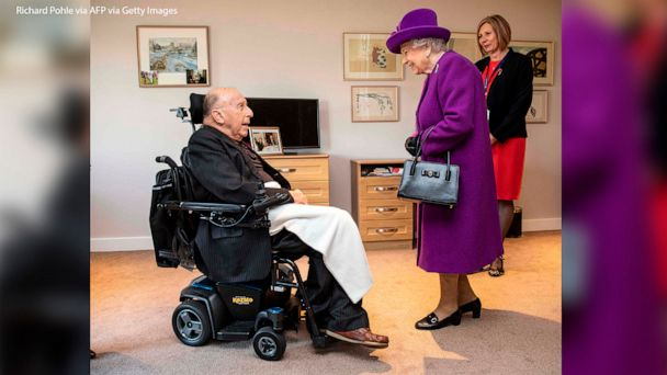 Queen Elizabeth meets 99-year-old World War II veteran John Riggs