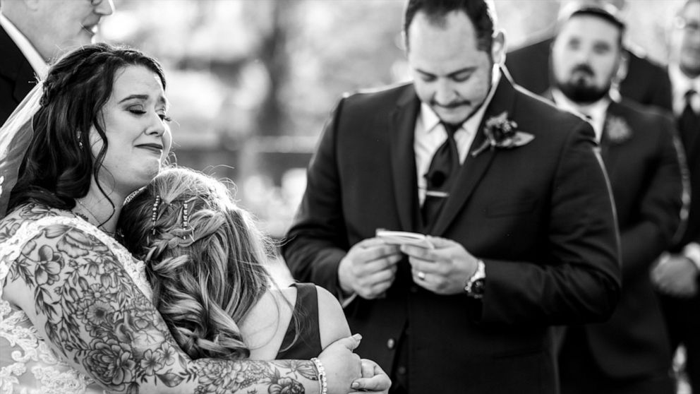 Groom reads tearful vows to stepdaughter as he marries her mom