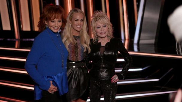 Carrie Underwood, Dolly Parton and Reba go behind the scenes at the CMAs