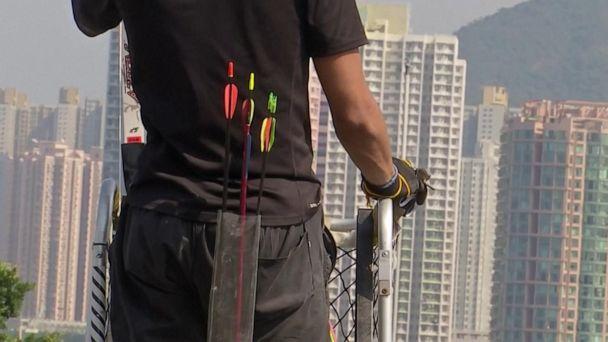 Javelins, arrows used in police standoff in Hong Kong