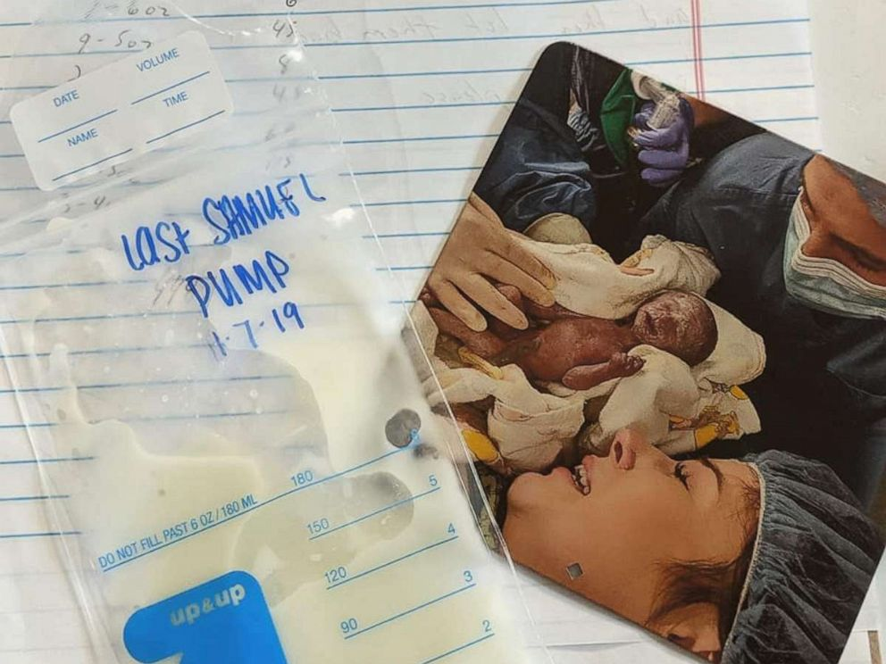 PHOTO: Sierra Strangfeld knew her son would pass away shortly after birth but decided to pump her breast milk to donate to another baby.