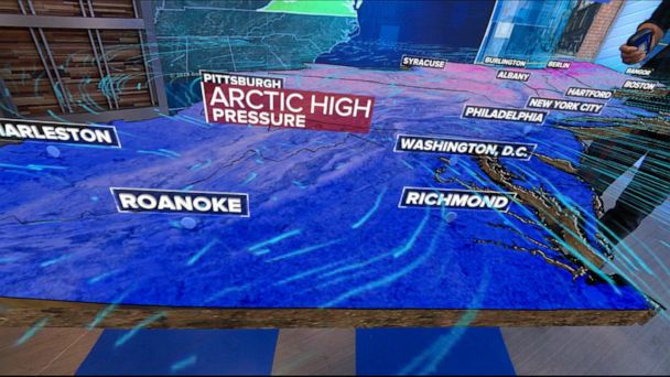 Arctic blast and snow in the East