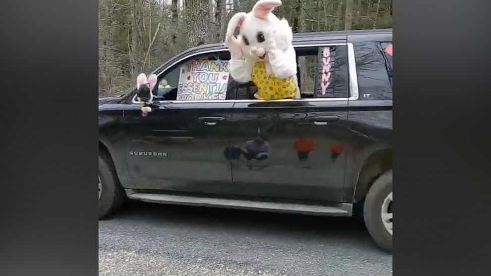 This Easter bunny drive-by is getting us into the Easter spirit