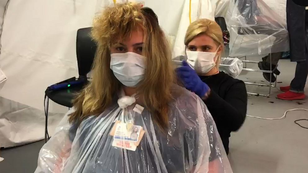 Mother receives first haircut after her maternity leave amid the pandemic