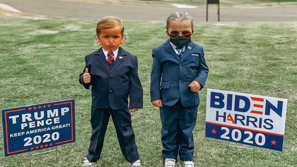 2020 Abc Television Halloween 4 year old twin girls dress as presidential candidates Donald