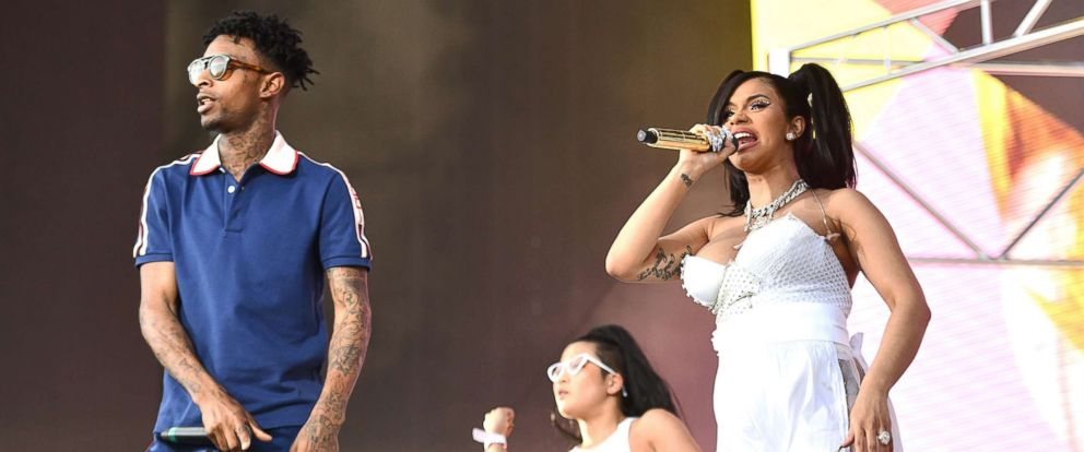 PHOTO: 21 Savage (L) and Cardi B perform on the Coachella stage on April 15, 2018, in Indio, Calif.