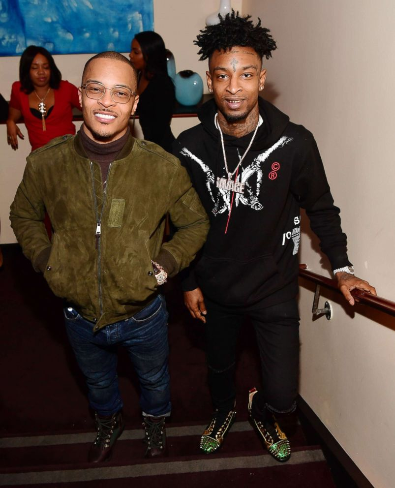 PHOTO: T.I. and 21 Savage attend an event on Feb. 4, 2017, in Houston.