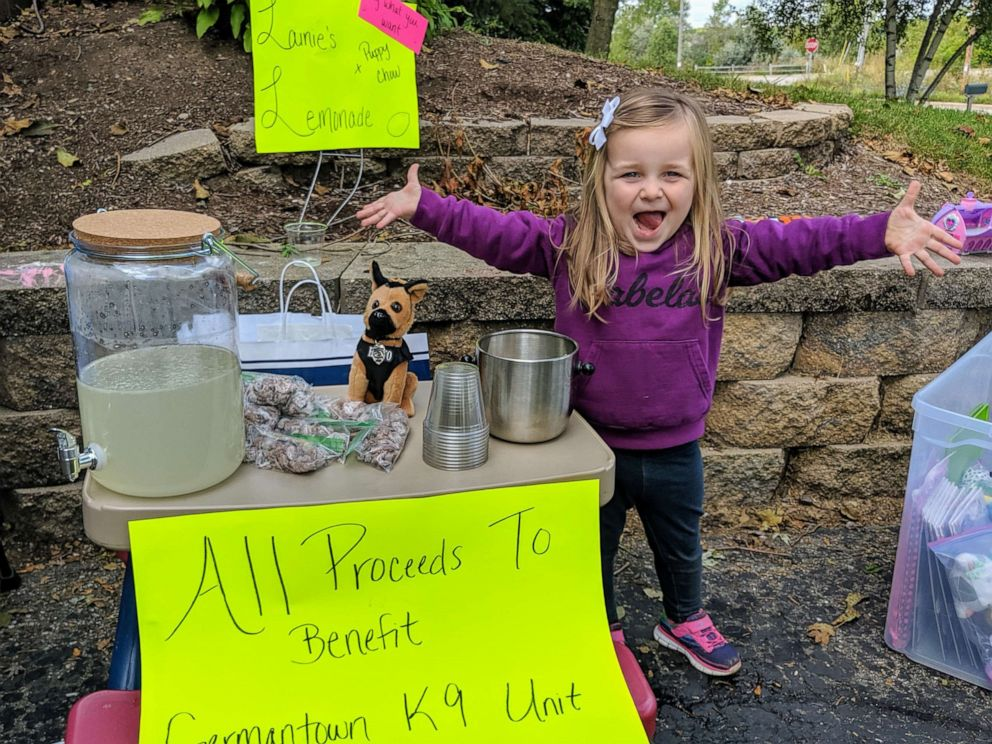 PHOTO: Lainie Stephens raised $754 by selling snacks and lemonade during her familys three-day-long garage sale to help the Germantown Police Department.