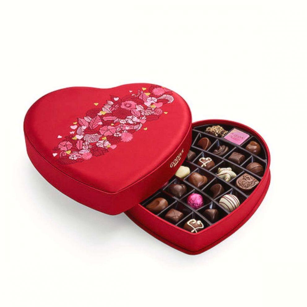 PHOTO: Valentines Day fabric heart chocolate gift box, 25 pc from GODIVA.